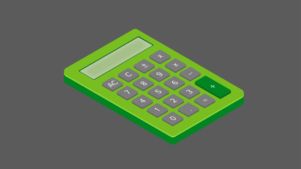 Calculator (isometric, green) representing calculating masternode rewards