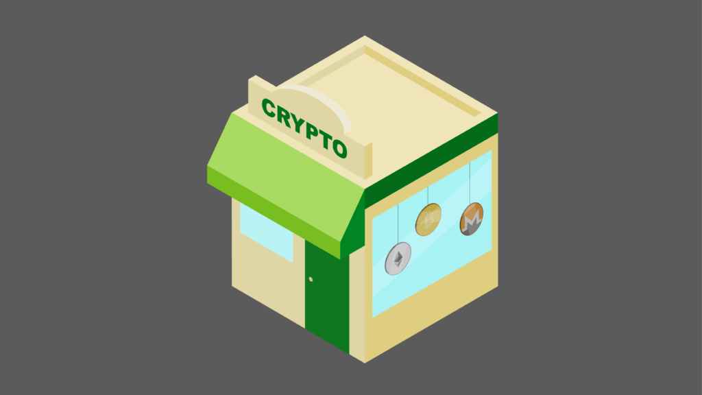 Isometric storefront with Crypto sign representing place to buy cryptocurrency