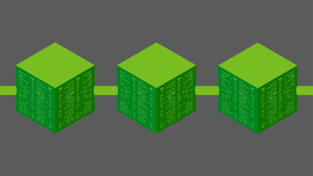 Blockchain (chain of linked green cubes representing the blockcain)